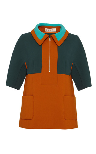 Color-block bonded wool jersey polo top by MARNI Preorder Now on Moda Operandi