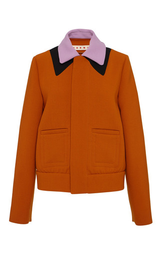 Burnt orange bonded wool jersey jacket by MARNI Preorder Now on Moda Operandi