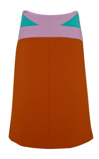 Burnt orange a-line skirt by MARNI Preorder Now on Moda Operandi