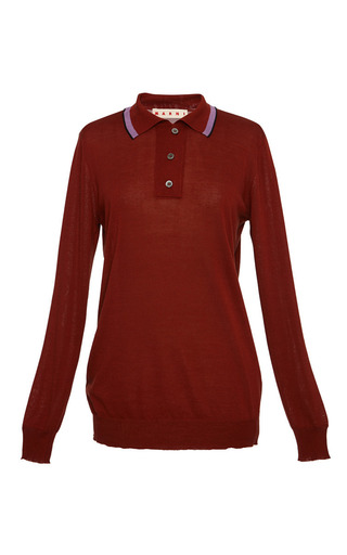 Rust long sleeve knit polo by MARNI Preorder Now on Moda Operandi