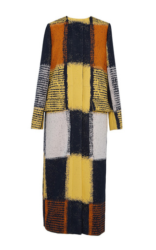 Yellow chalk squares long duster coat by MARNI Preorder Now on Moda Operandi