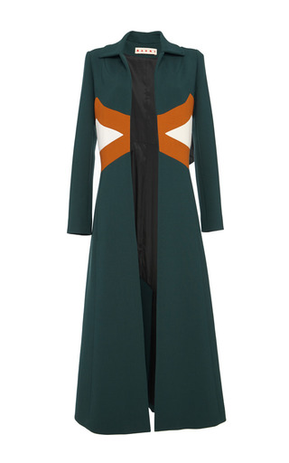 Hunter green duster coat by MARNI Preorder Now on Moda Operandi
