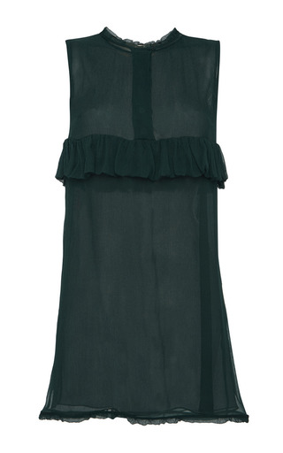 Sheer silk blouse with ruffle detail by MARNI Preorder Now on Moda Operandi