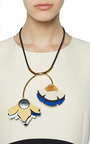 Leather Double Flower Pendant Necklace by Marni for Preorder on Moda Operandi