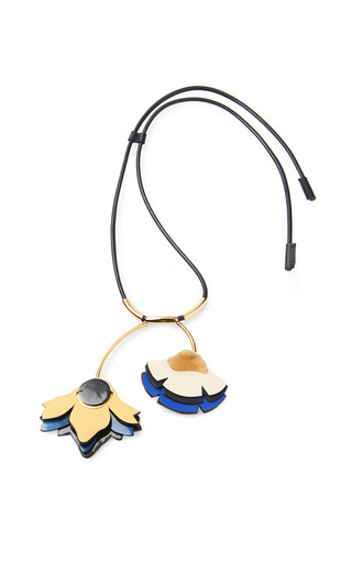 Leather double flower pendant necklace by MARNI Preorder Now on Moda Operandi