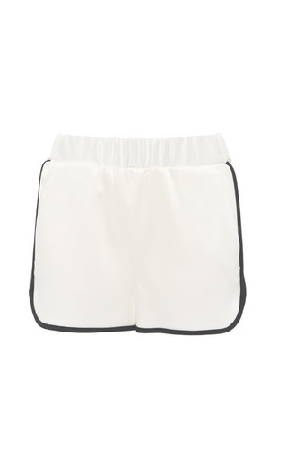 Color-blocked crepe satin track shorts by MSGM Preorder Now on Moda Operandi
