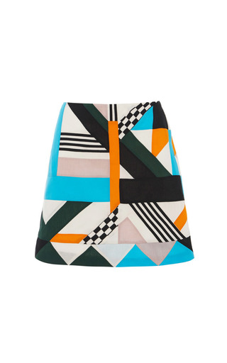 Optical patchwork mini skirt by MSGM Preorder Now on Moda Operandi