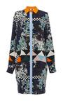 MSGM - Optical Vintage Floral Silk Shirt Dress