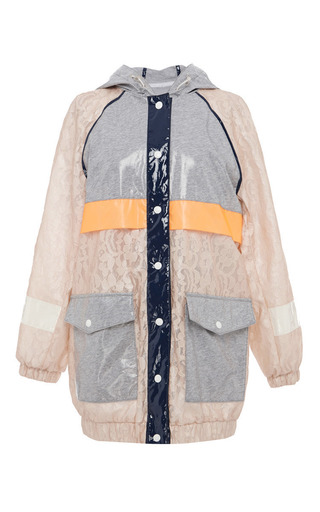 Laminated jersey lace parka by MSGM Preorder Now on Moda Operandi