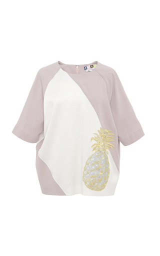 MSGM - Crepe Satin Pineapple Applique Blouse