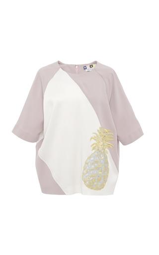 Crepe Satin Pineapple Applique Blouse by MSGM for Preorder on Moda Operandi