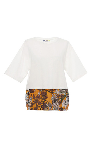 White jersey tee with floral mesh trim by MSGM Preorder Now on Moda Operandi