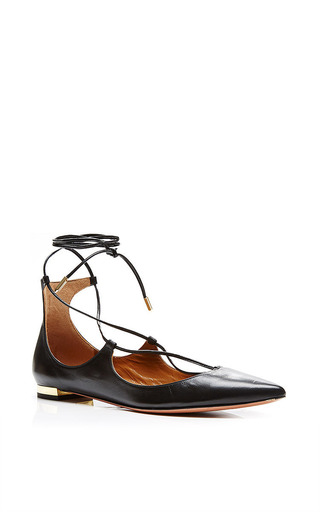 Christy leather pointed-toe flats by AQUAZZURA Now Available on Moda Operandi