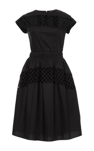 Black short sleeve hemstitching dress by CARVEN Now Available on Moda Operandi