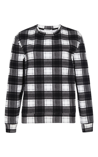 Check print molleton sweatshirt by CARVEN Now Available on Moda Operandi