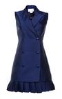 Antonio Berardi Marine Blue Duchess Waistcoat Dress by Antonio Berardi for Preorder on Moda Operandi