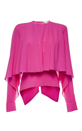 Magenta long sleeve capelet top by ANTONIO BERARDI Preorder Now on Moda Operandi