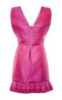 Magenta Duchess Satin V-Neck Dress With Pleated Hem by Antonio Berardi for Preorder on Moda Operandi