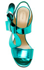 DELPOZO - Metallic-Leather Bow-Detail Sandals in Turquoise