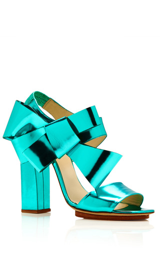 Metallic-Leather Bow-Detail Sandals in Turquoise by DELPOZO for Preorder on Moda Operandi