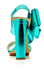 Metallic-Leather Bow-Detail Sandals in Turquoise by DELPOZO Now Available on Moda Operandi