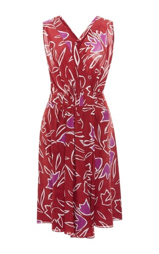 Pleat-front floral-print silk dress by NINA RICCI Available Now on Moda Operandi