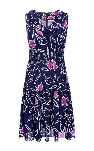 Floral-print smocked silk dress by NINA RICCI Available Now on Moda Operandi