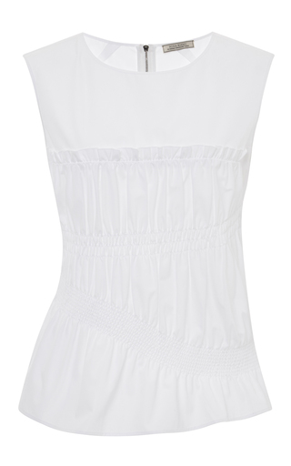 Smocked and pleated cotton top by NINA RICCI Available Now on Moda Operandi