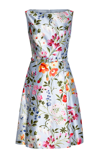 Floral-print cotton and silk-blend twill dress by OSCAR DE LA RENTA Available Now on Moda Operandi