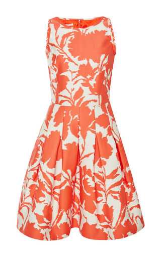 Printed cotton and silk-blend dress by OSCAR DE LA RENTA Available Now on Moda Operandi