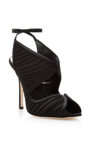 Suzy ruched chiffon satin sandals by OSCAR DE LA RENTA Now Available on Moda Operandi