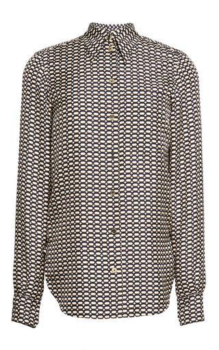 Silk twill tie pattern motif print shirt by SONIA RYKIEL Preorder Now on Moda Operandi