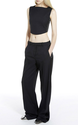 Sleeveless wool toile crop top by CARVEN Preorder Now on Moda Operandi