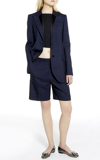 Navy wool toile tailored shorts by CARVEN Preorder Now on Moda Operandi
