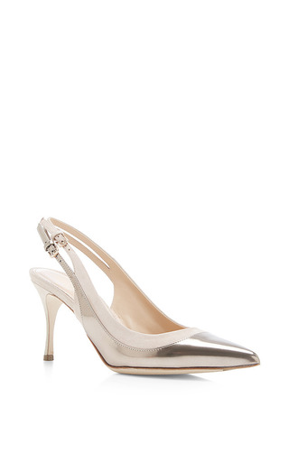 Collins metallic-leather and suede pumps by SERGIO ROSSI Now Available on Moda Operandi
