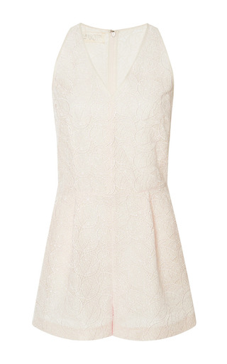 Lace v-neck romper by GIAMBATTISTA VALLI Available Now on Moda Operandi