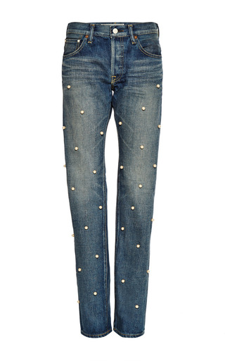 Faux pearl-embellished jeans by TU ES MON TRESOR Now Available on Moda Operandi