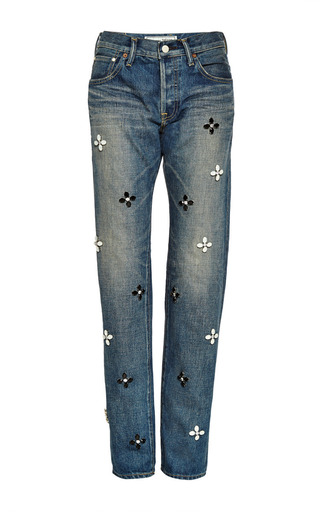 Crystal-embellished jeans by TU ES MON TRESOR Now Available on Moda Operandi