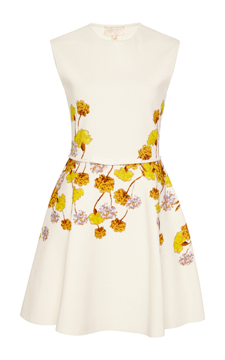 Belted floral print flare dress by GIAMBATTISTA VALLI Available Now on Moda Operandi
