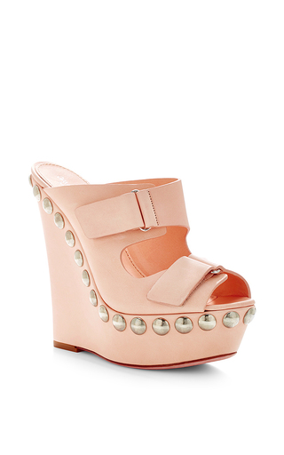 Studded leather platform wedge sandals by GIAMBATTISTA VALLI Now Available on Moda Operandi