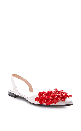 Embellished satin flats by GIAMBATTISTA VALLI Now Available on Moda Operandi