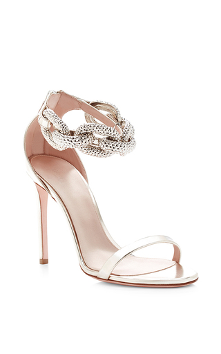 Chain-detail metallic-leather sandals by GIAMBATTISTA VALLI Available Now on Moda Operandi