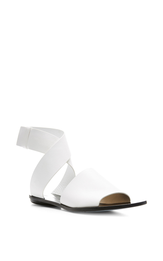 Flat leather sandals in white by PROENZA SCHOULER Available Now on Moda Operandi