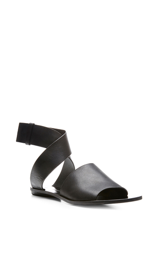Flat leather sandals in black by PROENZA SCHOULER Available Now on Moda Operandi