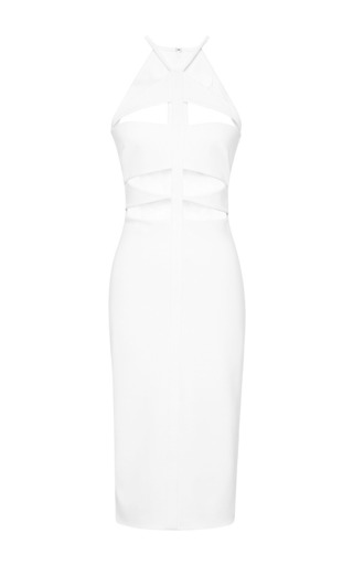 White cutout halter dress by CUSHNIE ET OCHS Now Available on Moda Operandi