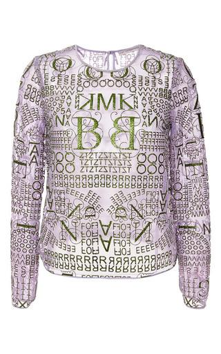 Letter lavande glitter long sleeve top by MARY KATRANTZOU Now Available on Moda Operandi