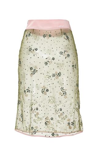 Mary Katrantzou - Floral Chartreuse Glitter Pencil Skirt