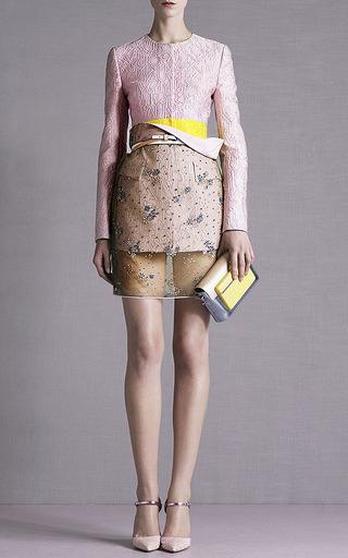 Floral Chartreuse Glitter Pencil Skirt by Mary Katrantzou for Preorder on Moda Operandi