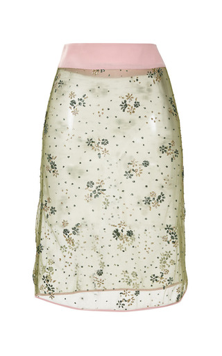 Floral Chartreuse Glitter Pencil Skirt by MARY KATRANTZOU for Preorder on Moda Operandi
