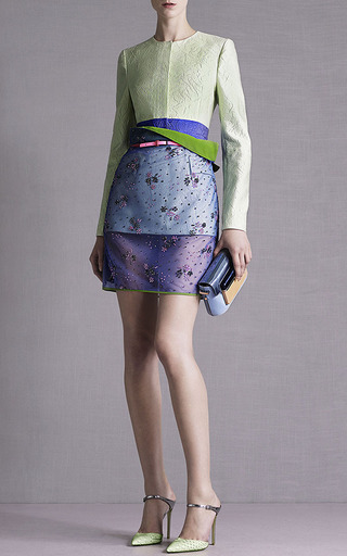 Floral Steel Glitter Pencil Skirt by MARY KATRANTZOU for Preorder on Moda Operandi